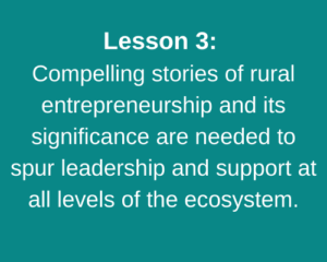 Lesson 3: Compelling stories of rural entrepreneurship and its significance are needed to spur leadership and support at all levels of the ecosystem.