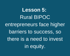 Lesson 5: Rural BIPOC entrepreneurs face higher barriers, so there is a need to invest in equity.