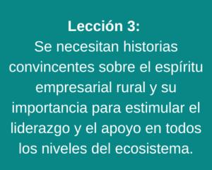 Lección 3: Se necesitan historias convincentes sobre el espíritu empresarial rural y su importancia para estimular el liderazgo y el apoyo en todos los niveles del ecosistema.