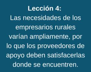 Lección 4: Las necesidades de los empresarios rurales varían ampliamente, por lo que los proveedores de apoyo deben satisfacerlas donde se encuentren.